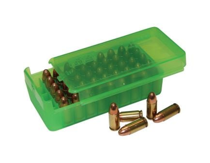 MTM Case Gard P50SS 9mm Luger/.30 Luger/.32 S&W/.380 ACP/9mm Makarov 50 Round Side-Slide Ammo Box, Clear Green - P50SS9M16