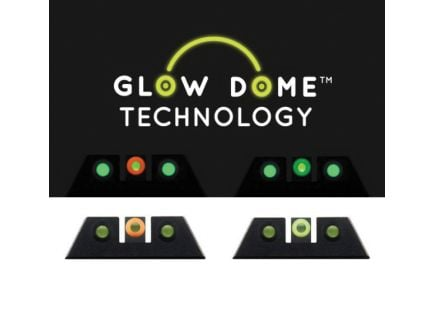 Night Fision Glow Dome Night Sight for Glock 42 and 43X Pistols, Green with Yellow Outline Front/Green with Black Outline Rear - GLK003007GDPYGZG