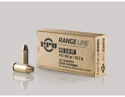 Prvi Partizan Range Line 165 gr FMJ .40 S&W Ammo, 50/box - PPR40