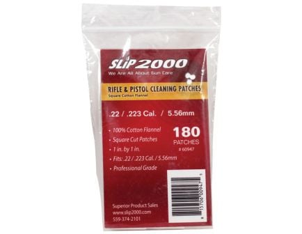 Slip 2000 Square Flannel Patches, .22/.223/5.56mm, 180/pack - 60947
