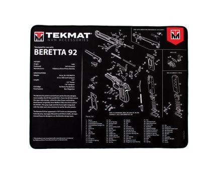 "TekMat Beretta 92 Ultra Premium Gun Cleaning Mat, 20"" W x 15"" Hx 0.25"" T, Black/White - R20-BER92"