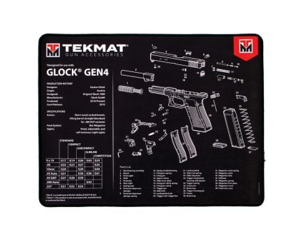 "TekMat Glock Gen 4 Ultra Premium Gun Cleaning Mat, 20"" W x 15"" Hx 0.25"" T, Black/White - R20-GLOCK-G4"