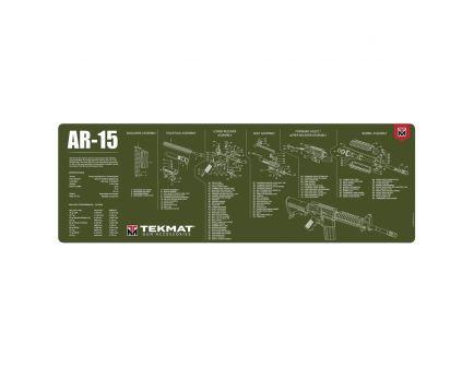 """TekMat AR-15 Parts Diagram Gun Cleaning Mat, 36"""" W x 12"""" H x 0.125"""" T, Olive Drab Green - R36-AR15-OD"""