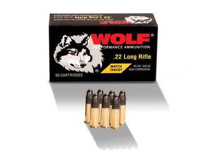 Wolf Performance Match Target 40 gr RN .22lr Ammo, 50/box - 22MTB