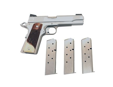 PSA Custom Stainless 1911 With Scrolled Rosewood and Faux Ivory, TruGlo TFO Sights, Light Pull Trigger, 12lb Recoil Spring,  3 Magazines, Soft Range Case, and Water tight Storage Case