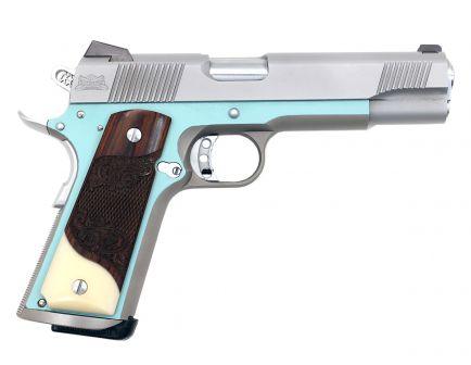 "PSA Custom Stainless ""Penelope"" .45ACP 1911 Pistol w/ Scrolled Rosewood & Faux Ivory Grips, 3 Magazines, Soft Range Case, & Watertight Storage Case"