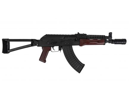 PSA AK-P Red Wood Triangle Side Folding Pistol with Cheese Grater Upper Handguard