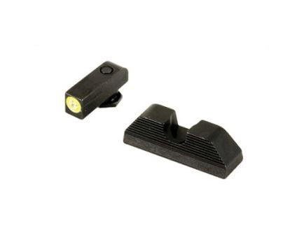 AmeriGlo Sight Set w/ Green Tritium Line Outline Front & Serrated Round Notch Rear For Various Glock Models - GL-354