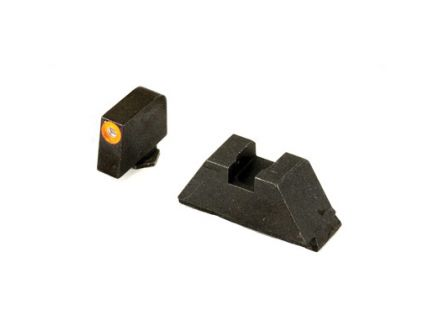 AmerGlo Suppressor Height Green Tritium Orange Outline Front Black Rear Sight Set For All Glocks Except 42/43 - GL-511