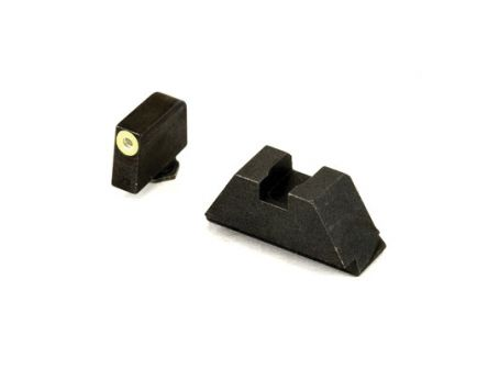 AmerGlo Suppressor Height Green Tritium Lime Outline Front Black Rear Sight Set For All Glocks Except 42/43 - GL-611