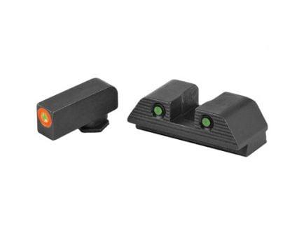 AmeriGlo Trooper Glock 17/19 Gen 5 Night Sight Set, Green Front Orange Outline Green Tritium Serrated Rear - GL-818
