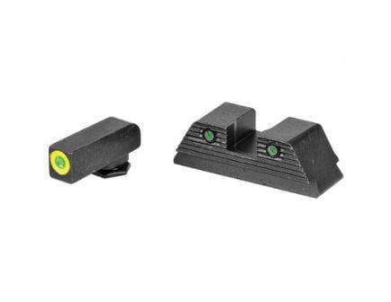 AmeriGlo Trooper Glock 20/21/29/30/31/32/36/40/41 Night Sight Set, Green Front Green Tritium Serrated Rear - GL-820