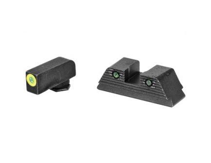 AmeriGlo Trooper Glock 17/19/19X/26/45 Gen 5 Night Sight Set, Green Front Green Tritium Serrated Rear - GL-822