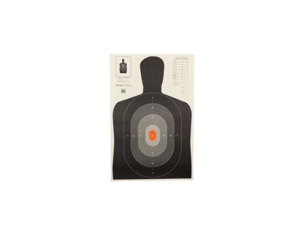 """Action Target B-27E 23""""x35"""" Pros Target w/ Shaded Scoring Rings & Silhouette Cut Off, 100/Box - B-27EPROS-100"""
