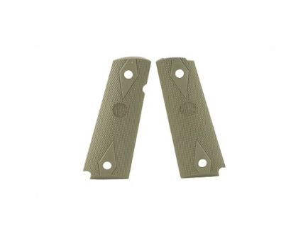Hogue 1911 Government Checkered Diamond Pattern Rubber Grips, OD Green - 45011