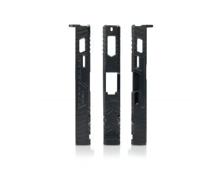 Lantac-USA Razorback Windowed Stripped Upgrade Slide for Glock 19 Gen 1 to 3 Pistols, Black - 01-GSS-GEN13-G19-LT