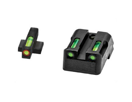 Hi-Viz LiteWave H3 Fixed Rear Sight 1911 Tritium Litepipe Green Night Sight Set With Orange Front Ring - KBN521