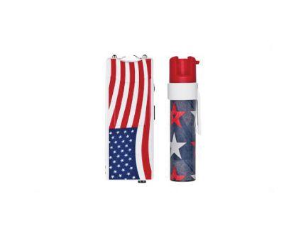 Sabre Stun Gun and Pepper Gel Package, Red/White/Blue Stun Gun w/ Built-in Flashlight - S7-PGUSA