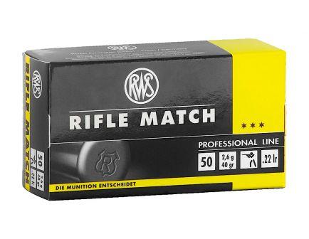 RWS Rifle Match 40gr LRN .22 LR Ammo, 50rds - 2134225