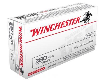 Winchester 380 Auto/ACP 95gr JHP Ammunition, 50 Round Box - USA380JHP