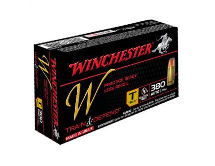 Winchester 380 Auto/ACP 95gr FMJ Train & Defend Ammunition, 50 Round Box - W380T