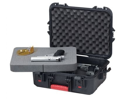 Plano Synergy All Weather Pistol Case, Large, Black w/ Yellow - 108021