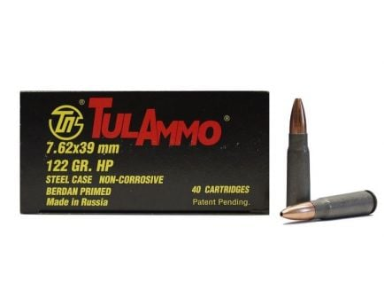 TulAmmo 7.62x39 mm 122 gr HP Steel Cased 40 Rounds Ammunition - UL076212