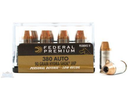 Federal 380 Auto/ACP 90gr Hydra-Shok Ammunition 20rds - PD380HS1