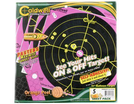 "Caldwell Orange Peel 12"" Flake Off Self-Adhesive Bullseye Shooting Target, Pink/Black, 5 Sheet/pack - 317536"