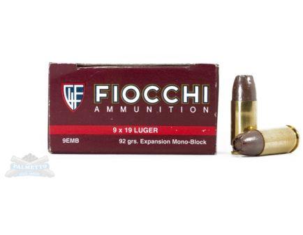 Fiocchi 9mm 92gr EMB Ammunition 50rds- - -9EMB