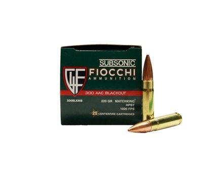 Fiocchi Subsonic .300 AAC Blackout 220gr Sierra Matchking HPBT Ammunition, 25 Round Box