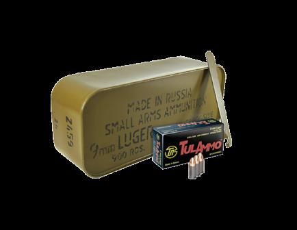 Tula 9x19mm 115gr FMJ Steel Cased Ammunition 900rd Sealed Tin - TA919151
