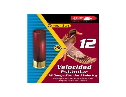 Aguila Field 12 Gauge 2-3/4 inches 8 Shot 1-1/8 oz Standard Velocity Lead Shotshell, Birdshot, 25/Box - 1CHB1218