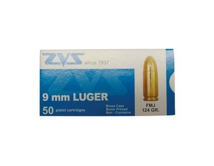 ZVS 9mm 124gr FMJ Ammunition 50rds - AM1903