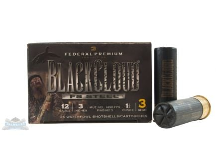 "Federal 12ga 3"" 1.25oz #3 Black Cloud Waterfowl Shotshells 25rds - PWB142 3"