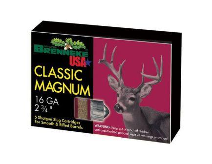 "Brenekke Classic Magnum 16 Gauge 2 3/4"" 437 gr Slug 5 Rounds"