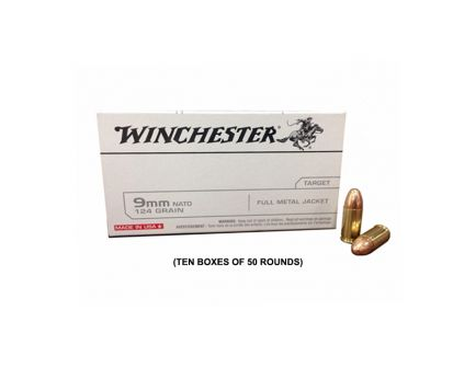 Winchester USA 9mm NATO 124gr FMJ Ammunition, 500 Round Case - Q4318