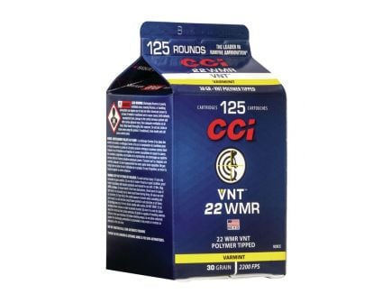 CCI VNT .22 WMR 30 gr Polymer Tipped VNT 125 Round Carton