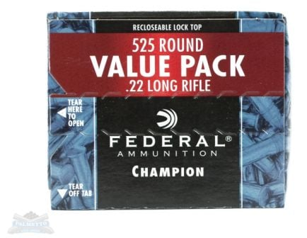 federal .22 long rifle 36 grain copper plated hp champion ammunition 525 rounds