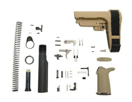 Flat Dark Earth SBA3 AR-15 Lower Build Kit