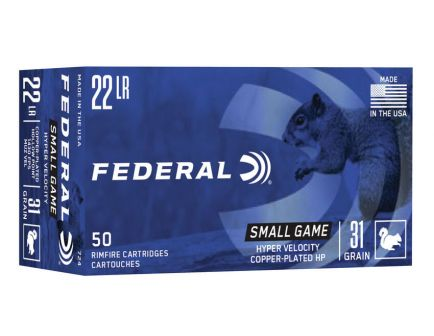 Federal Premium Small Game Hyper Velocity 31 gr CPHP .22 LR Ammunition 50 Rounds