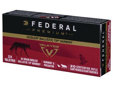 Federal Premium .224 Valkyrie 60gr Nosler Ballistic Tip Ammunition, 20rds