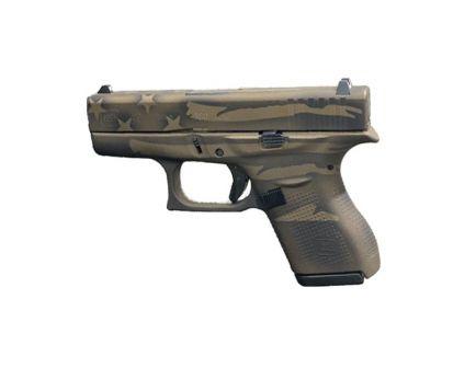 Glock 42 .380 ACP Pistol, Battleworn Bronze Distressed Flag