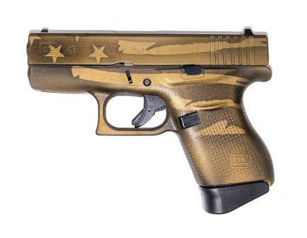 Glock 43 9mm Pistol, Battleworn Bronze Distressed Flag