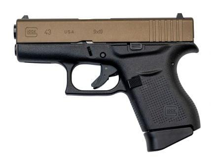 Glock 43 US 9mm Pistol, Burnt Bronze/Black