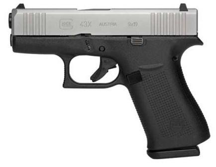 """Glock 43X 9mm Pistol Silver Slide 10rd 3.39"""" - UX435SL201 for sale"""