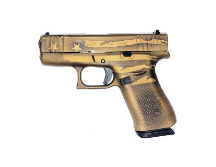 Glock 43X 9mm Pistol, Battleworn Bronze Distressed Flag