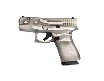 Glock 43X FS 9mm Pistol, Battleship Gray Distressed Flag
