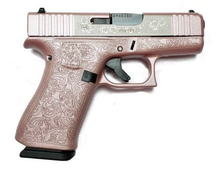 "Glock 43X ""Glock and Roses"" Engraved 9mm Pistol, Pink"