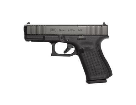 Glock 19 MOS Gen 5 Pistol with Front Serrations, Black - PA195S203M